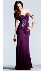 Chiffon Sheath Sweetheart Floor-length Grape Ball Dresses (NZJT06055)