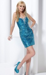 Turquoise Sequined Sheath Sweetheart  Short School Ball Gowns(NZJT06058)