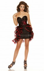 Black Stretch Satin Sheath Sweetheart Neckline Short School Ball Gowns(NZJT06060)