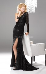 Black Mermaid Sweep Train Sequined One Shoulder Ball Dresses (NZJT06070)