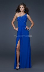 Ocean Blue A-line Floor-length Chiffon One Shoulder Ball Dresses (NZJT06071)