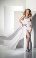White Mermaid Floor-length Chiffon One Shoulder Ball Dresses (NZJT06074)
