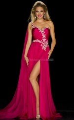 Fuchsia Sheath Sweetheart Silk Like Chiffon Long Ball Dresses (NZJT06095)