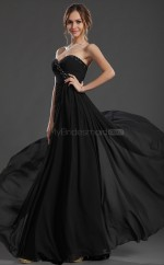 Black Chiffon Long Formal Bridesmaid Dress NZJT061315