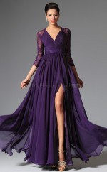 Regency  Long Chiffon and Lace Bridesmaid Dress with long Sleeves NZJT061319