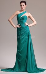 Glamorous Green One Shoulder Chiffon Bridesmaid Dress NZJT061330