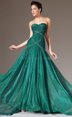 Dropped waist Green Long Chiffon Bridesmaid Dress NZJT061335