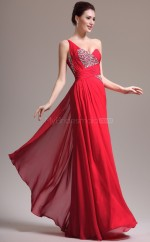 Red Long Chiffon Empire waist Bridesmaid Dress NZJT061347