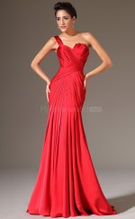 One Shoulder Taffeta Mermaid Red Bridesmaid Dress NZJT061348