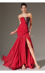 Mermaid Chiffon Long Red Empire waist Bridesmaid Dress NZJT061354