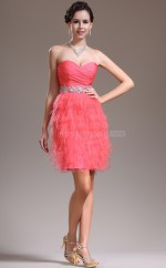 Formal Peach Tencel and Taffeta Short Bridesmaid Dress NZJT061355