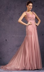 Nude Pink Long V Neck Chiffon Bridesmaid Dress NZJT061363