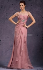 Mermaid Chiffon Long Nude Pink Bridesmaid Dress with Short Sleeves NZJT061364