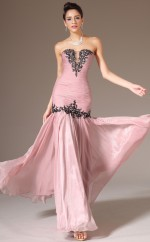 Chic Nude Pink Sweetheart Neck Chiffon Bridesmaid Dress NZJT061365