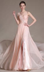 Empire waist Chiffon Long Pearl Pink Bridesmaid Dress NZJT061370