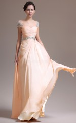Modern Pearl Pink Sweetheart Neck Chiffon Bridesmaid Dress with Short Sleeves NZJT061374
