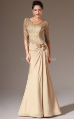 Formal Gold V Neck Chiffon and Lace Half Sleeved Bridesmaid Dress NZJT061379