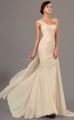Empire waist Champagne One Shoulder Chiffon Bridesmaid Dress NZJT061380