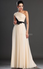 Cream Long One Shoulder Chiffon Bridesmaid Dress NZJT061381