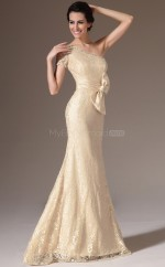 Champagne Long Lace  Empire waist Bridesmaid Dress with Short Sleeves NZJT061383