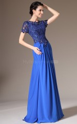 A Line Chiffon and Lace Long Royal Blue Bridesmaid Dress with Short Sleeves NZJT061391