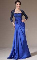Royal Blue Long Chiffon and Lace Bridesmaid Dress with long Sleeves NZJT061392