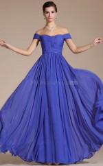 Off The Shoulder Chiffon A Line Royal Blue Bridesmaid Dress with Short Sleeves NZJT061394