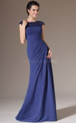 Trendy Chiffon and Lace Blue Long Bridesmaid Dress with Short Sleeves NZJT061395