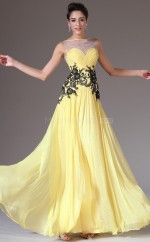 Empire waist Chiffon and Lace Long Yellow Bridesmaid Dress NZJT061404