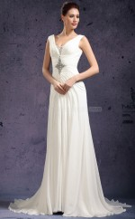 White Long Chiffon Bridesmaid Dress NZJT061407