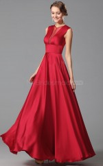 Red Long Jewel Neck Satin Chiffon Bridesmaid Dress NZJT061410