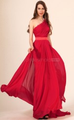 Red One Shoulder Long Chiffon Bridesmaid Dress NZJT061415