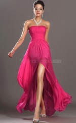 A Line Velvet Chiffon Long Fuchsia Bridesmaid Dress NZJT061417
