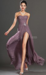 Elegant Dark Lilac Chiffon Long Bridesmaid Dress NZJT061418