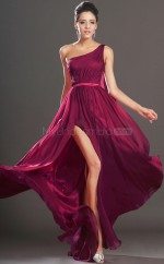 Burgundy One Shoulder Long Chiffon Bridesmaid Dress NZJT061419