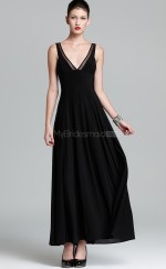 Chiffon A-line V-neck Ankle-length Black Ball Dresses (NZJT06142)