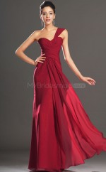 Classic Burgundy Chiffon Long Bridesmaid Dress NZJT061423
