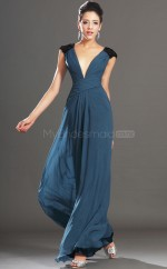 Ink Blue Long V Neck Chiffon Bridesmaid Dress with Short Sleeves NZJT061426
