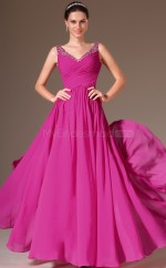 Fuchsia Long Chiffon Bridesmaid Dress NZJT061430