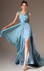 Pool Chiffon Long Empire waist Bridesmaid Dress NZJT061431