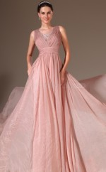 Pink V Neck Long Velvet Chiffon Bridesmaid Dress NZJT061432