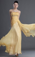 Yellow Long Dropped waist Strapless Chiffon Bridesmaid Dress NZJT061433