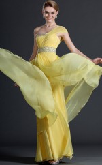 One Shoulder Chiffon Sheath Yellow Bridesmaid Dress with Short Sleeves NZJT061435