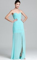 Chiffon Sheath Sweetheart Floor-length Sky Blue Ball Dresses (NZJT06166)
