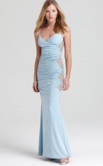 Satin Chiffon Mermaid Halter Ankle-length Sky Blue Ball Dresses (NZJT06168)
