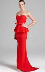 Stretch Satin Mermaid Sweetheart Sweep Train Ruby Ball Dresses (NZJT06172)