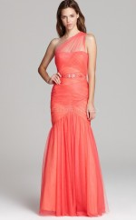 Ruby Mermaid Floor-length Tulle One Shoulder Ball Dresses (NZJT06175)