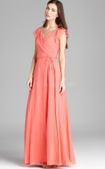 Watermelon A-line V-neck Chiffon Long Ball Dresses (NZJT06176)