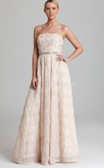 Lace A-line Strapless Floor-length Pearl Pink Ball Dresses (NZJT06195)
