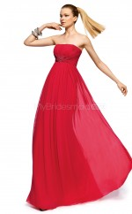 Silk Like Chiffon A-line Strapless Floor-length Red Ball Dresses (NZJT06313)